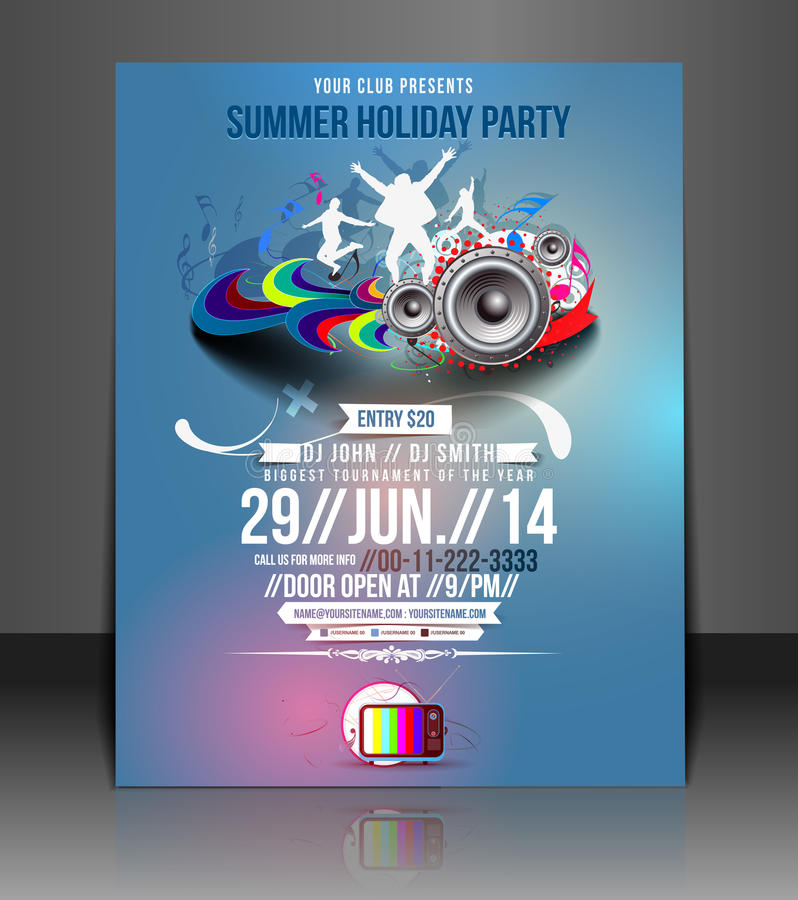 Music Party Flyer Design royalty free illustration
