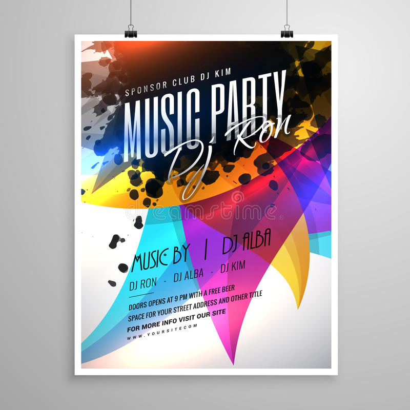 Music party flyer template design with colorful abstract shapes. Vector illustration royalty free illustration