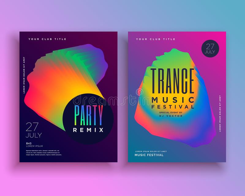 Music party flyer template design with vibrant abstract shape. Vector stock illustration