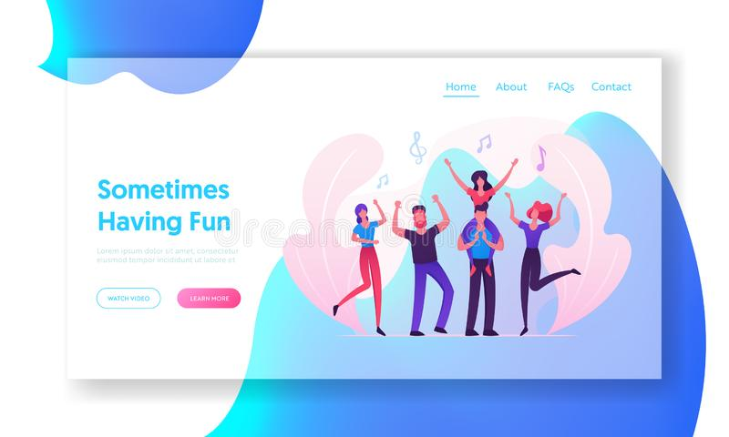 Music Party Website Landing Page, Group of Young People Visiting Concert, Fans Cheering, Girl Sitting on Man Shoulders. Music Party Website Landing Page, Group vector illustration