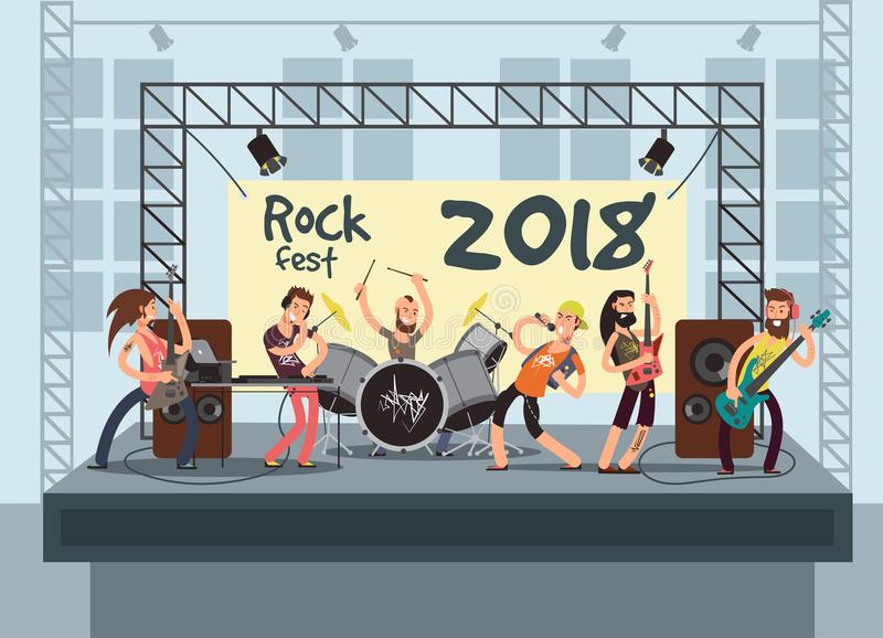 Music performance on stage with young musicians. Rock concert vector background stock illustration