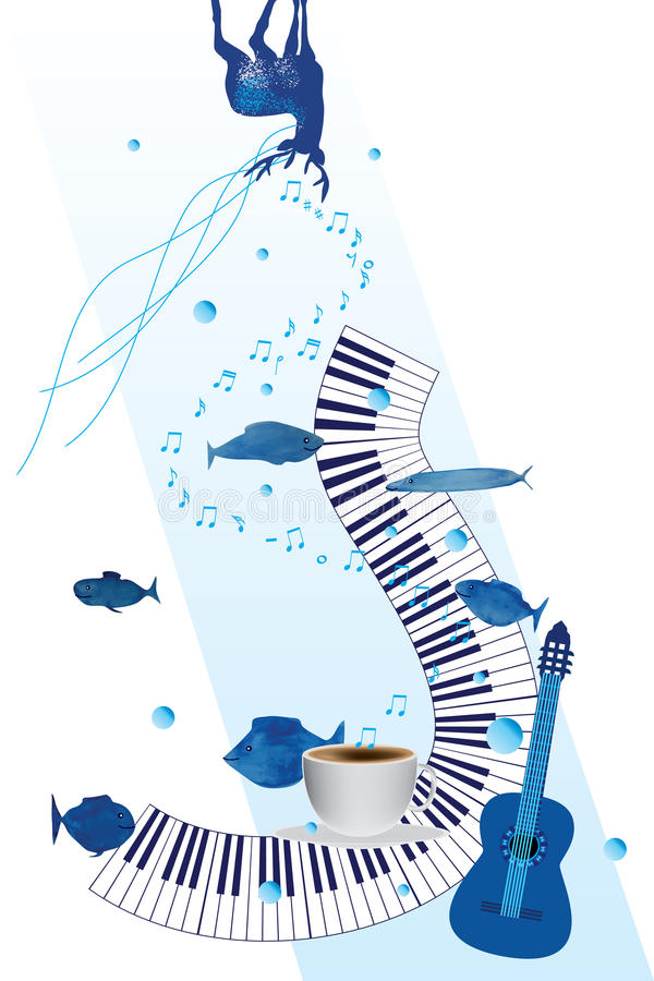 Music piano enjoy card. This illustration is design and drawing abstract blue deer look, piano and guitar fine, fish free swimming, a cup drink with music stock illustration