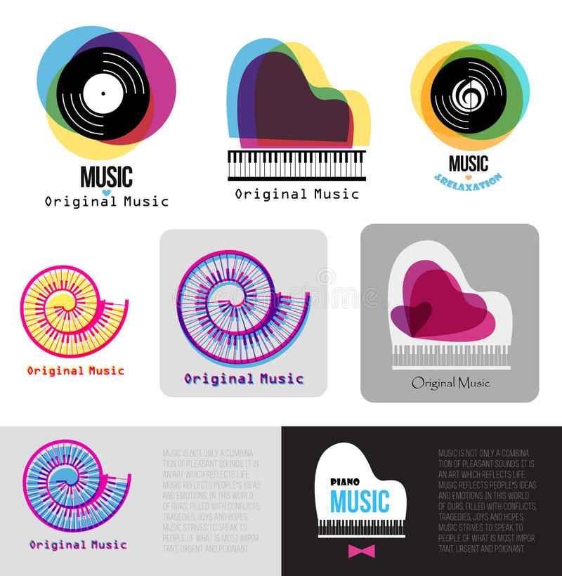 Music piano logo. Jazz logo. Vinyl records sign logotype. Music keys in the spiral. Color music template. Music Brand template. Business card printable stock illustration