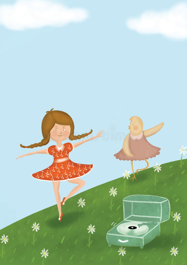 Music picnic. Digital illustration with a little girl and fun chicken dancing in the green royalty free illustration