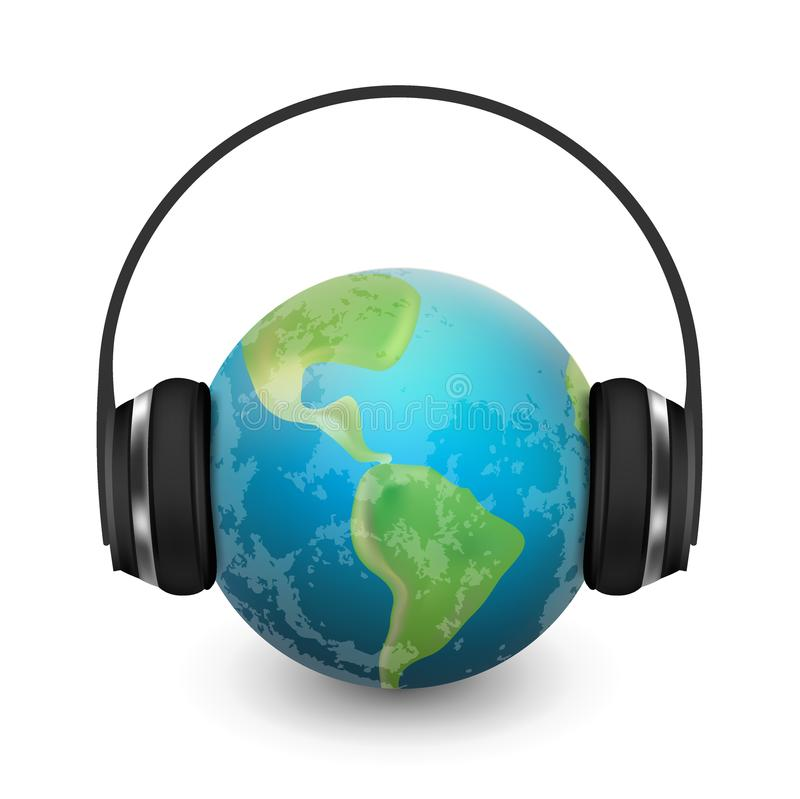 Music planet earth with headphones, vector realistic illustration stock illustration