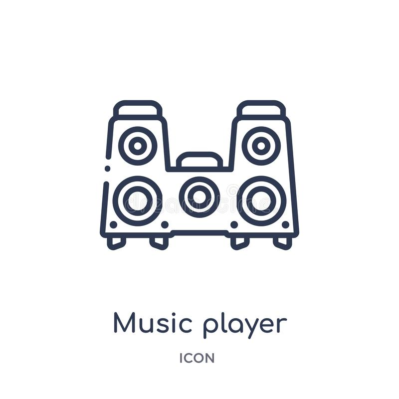 music player big speaker icon from technology outline collection. Thin line music player big speaker icon isolated on white stock illustration