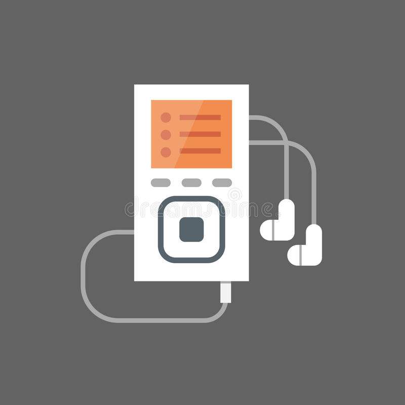 Music Player With Earphones Icon Audio Listening Gadget royalty free illustration