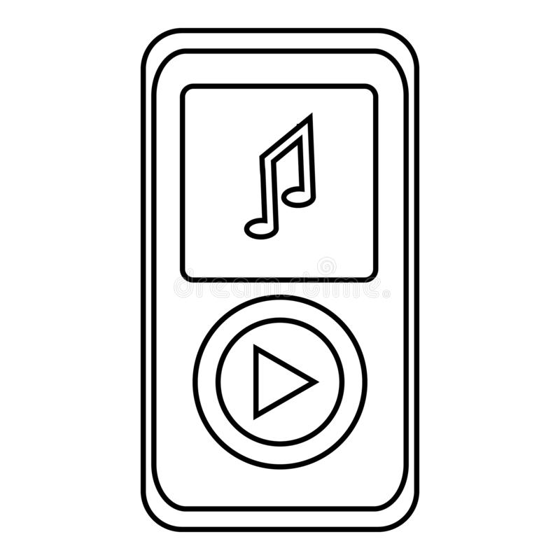 Music player icon, outline style stock illustration