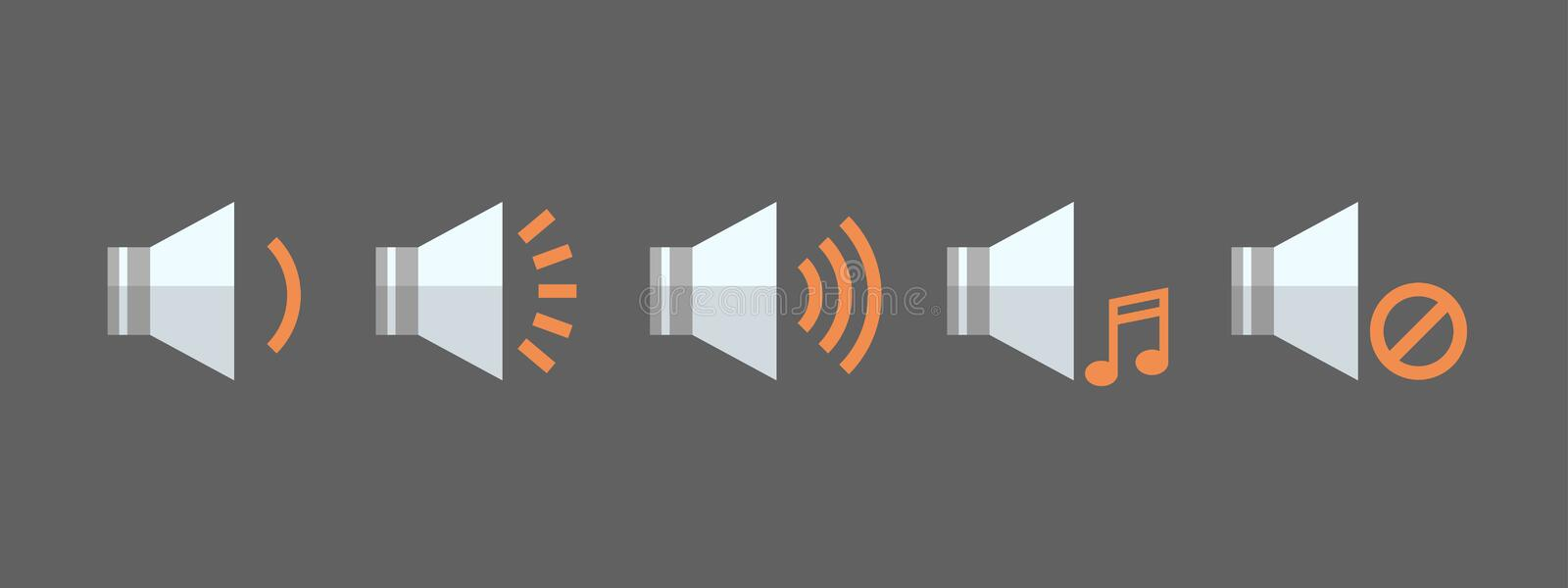 Music Player Volume Icon Set Audio Listening App Interface Button royalty free illustration