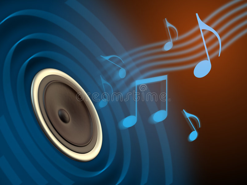 Music playing. Music coming out of a speaker cone. Digital illustration stock illustration