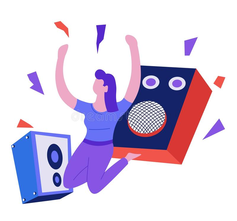 Music playing and listening speakers and woman dancing isolated character. Speakers and woman dancing music playing and listening isolated female character royalty free illustration