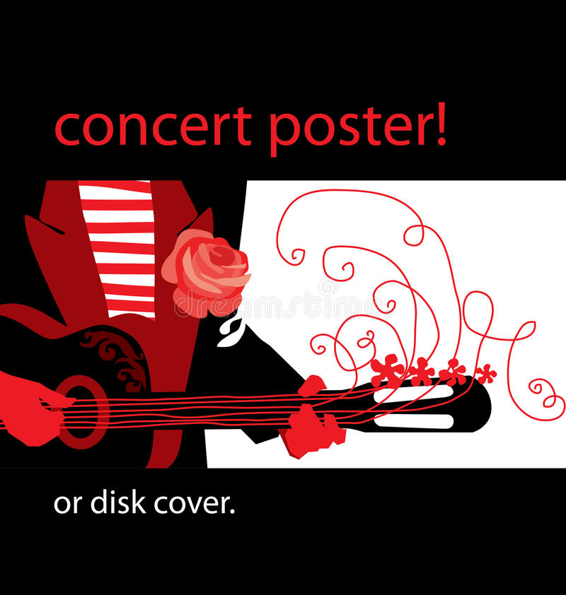 Download Music poster stock vector. Image of roll, guitar, template - 23747030