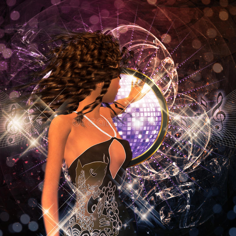 Music poster with brunette girl royalty free stock image