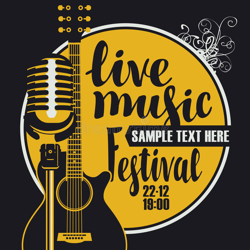Music poster with microphone and acoustic guitar. Vector poster for a live music festival with a microphone, acoustic guitar and inscription in retro style vector illustration