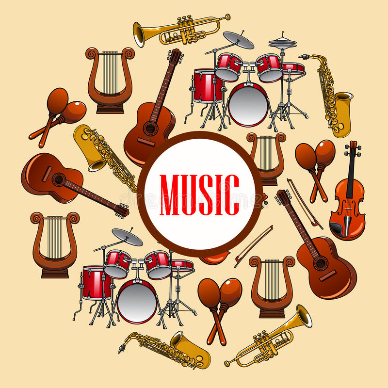 Music poster. Wind and strings musical instruments royalty free illustration