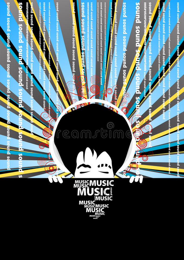 Free Music Poster With Cool Man With Headphones Royalty Free Stock Photos - 4618008