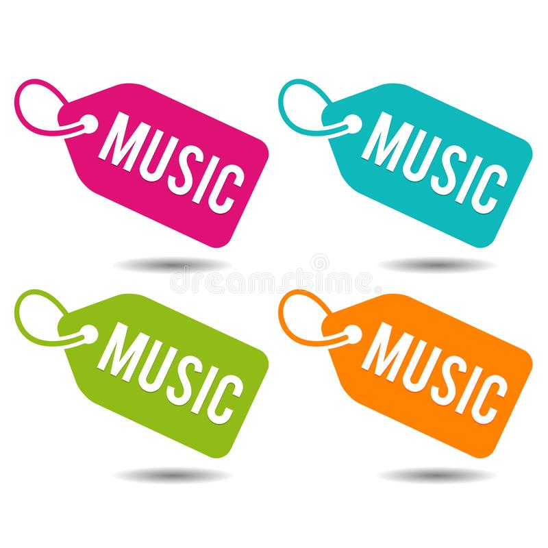 Music price Tags. Flat Eps10 Vector Illustration. Four color buttons vector illustration