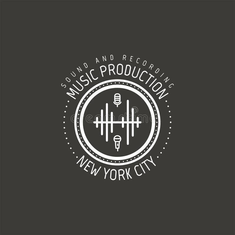Music production. New york city vector label, badge, emblem logo with musical instrument. Stock vector illustration vector illustration