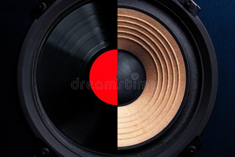 Music record production concept. Head of loudspeaker overlaid by vinyl disc recording media. Old school analog technology royalty free stock image