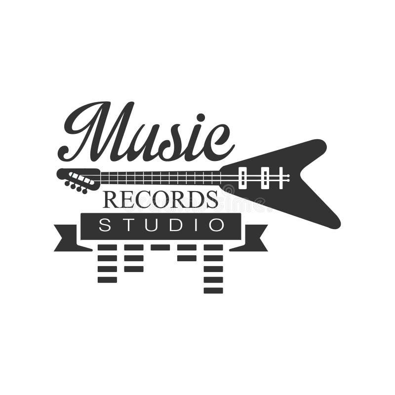 Download Music Record Studio Black And White Logo Template With Sound Recording Retro Electro Guitar