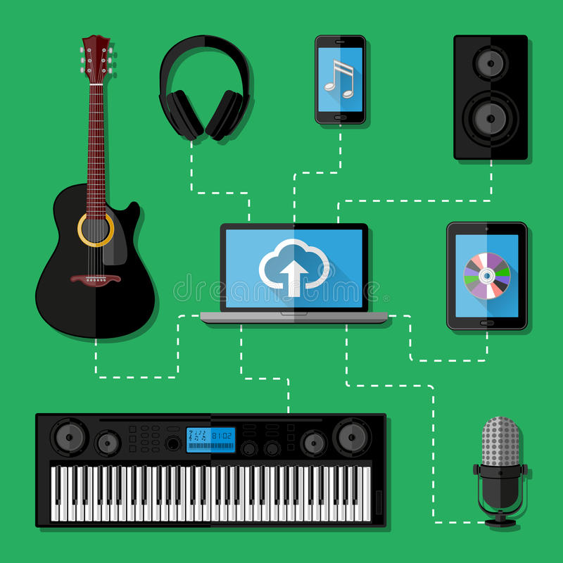 Free Music Recording Studio Concept. Flat Design Royalty Free Stock Images - 43763609