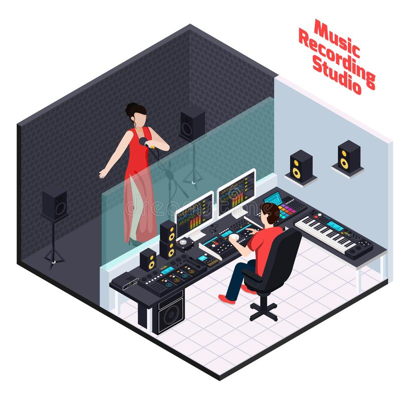 Vocal Recording Isometric Composition royalty free illustration