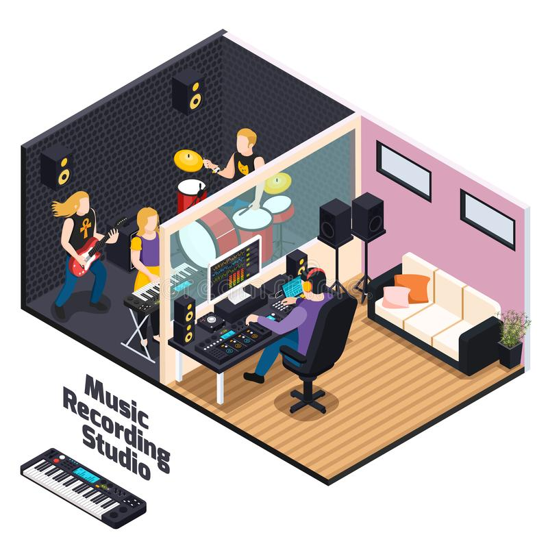 Music Recording Studio Isometric Composition stock illustration