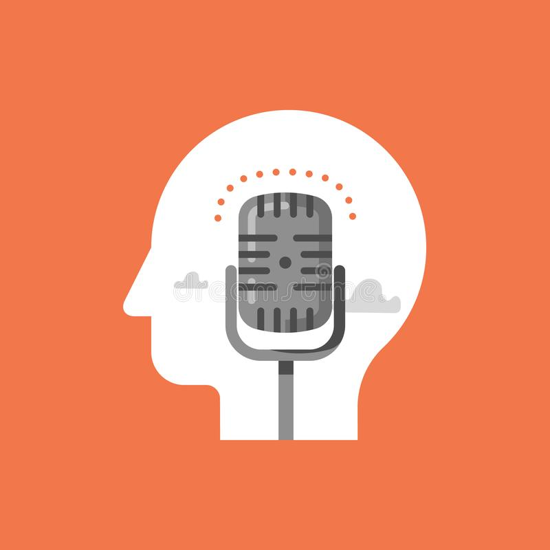 Music recording studio, podcast concept, broadcast radio show, comedy club microphone. Podcast concept, broadcast radio show, comedy club microphone, music stock illustration