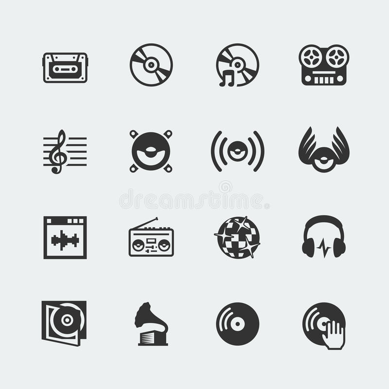 Music related vector icons. Set vector illustration