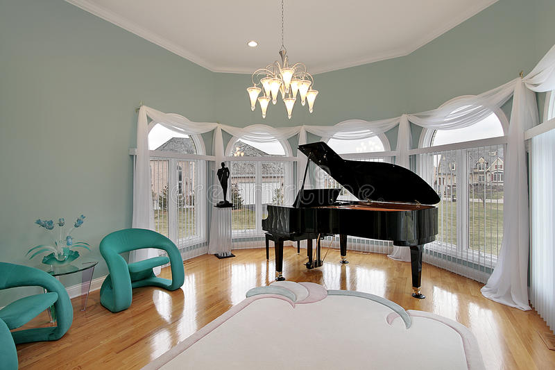 Music room with green chairs royalty free stock photos