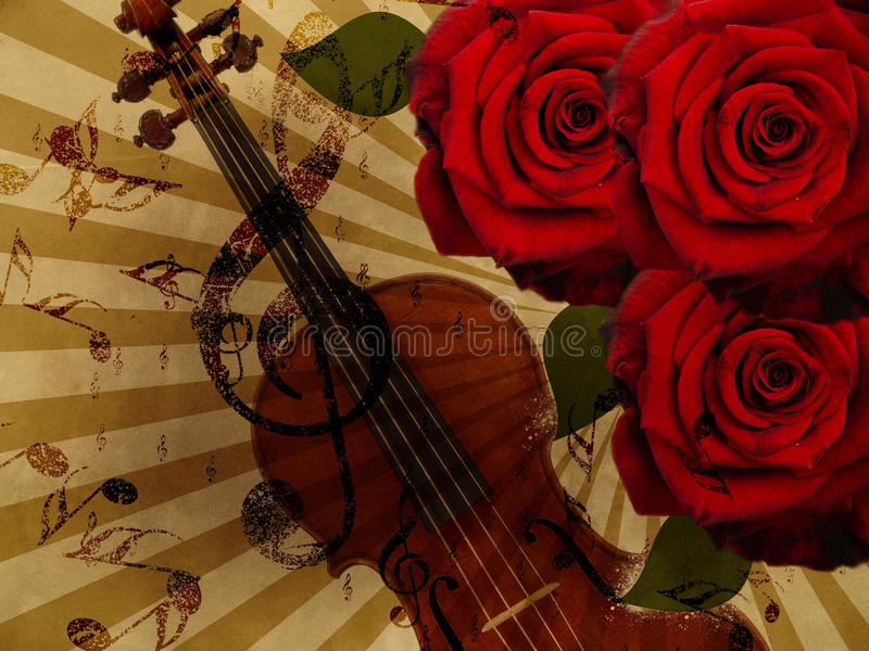 Music roses and violin background stock photos