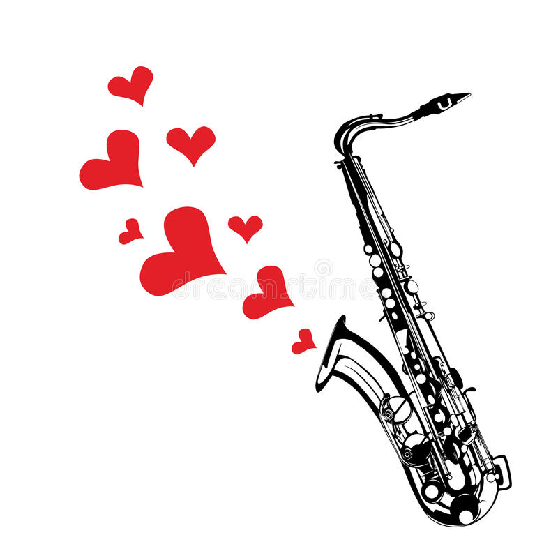 Music saxophone illustration playing a love song. Heart love music saxophone playing a song for valentine day background royalty free illustration