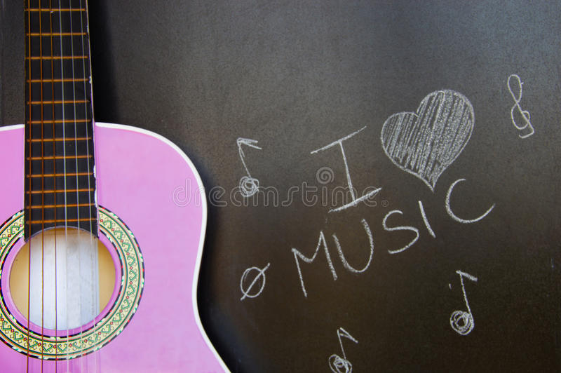 Music school of guitar for children royalty free stock photography