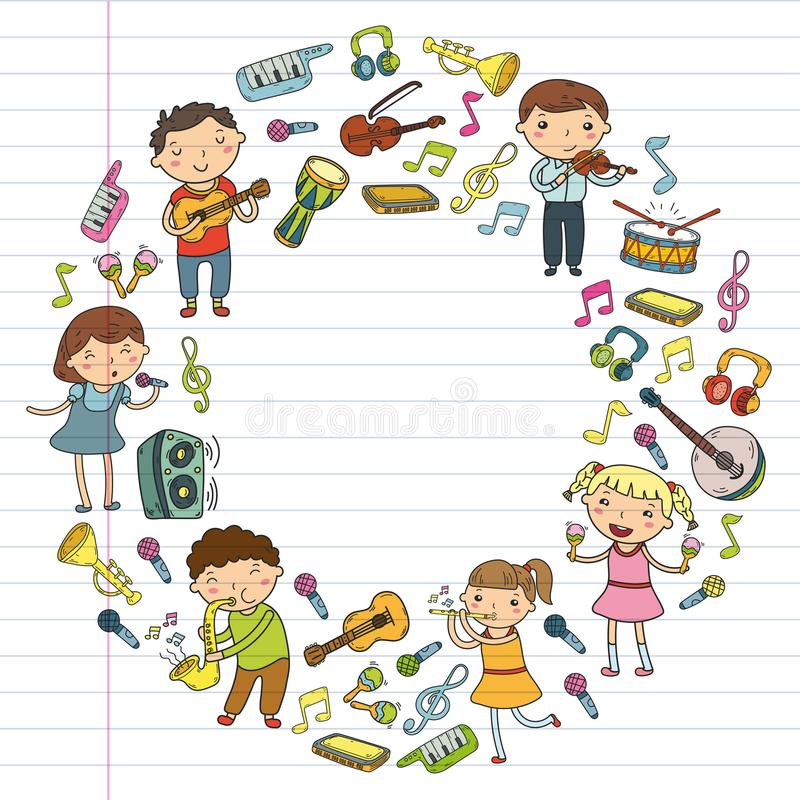 Music school for kids Vector illustration Children singing songs, playing musical instruments Kindergarten Doodle icon vector illustration