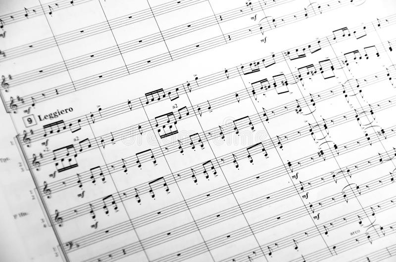Orchestra Music score. Sheet music score for an orchestra royalty free stock photo