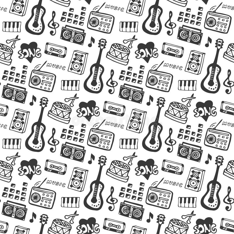 Music seamless pattern with doodle musical instruments and sound elements . Vector illustration music print stock illustration
