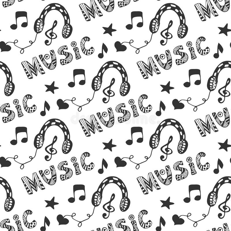 Music seamless pattern with hand drawn headphones and doodle lettering Music. Vector illustration with melody music print. vector illustration