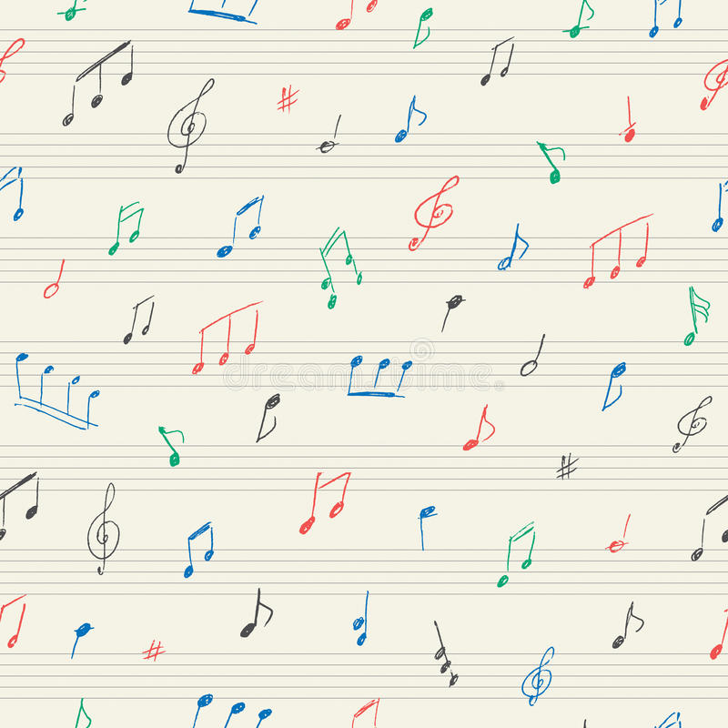 Music seamless pattern with handwritten musical notes stock illustration