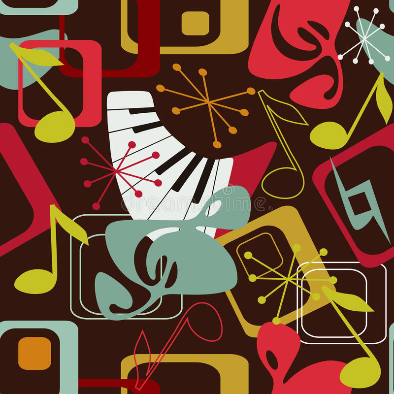 Music Seamless Pattern In Retro Style Stock Photography