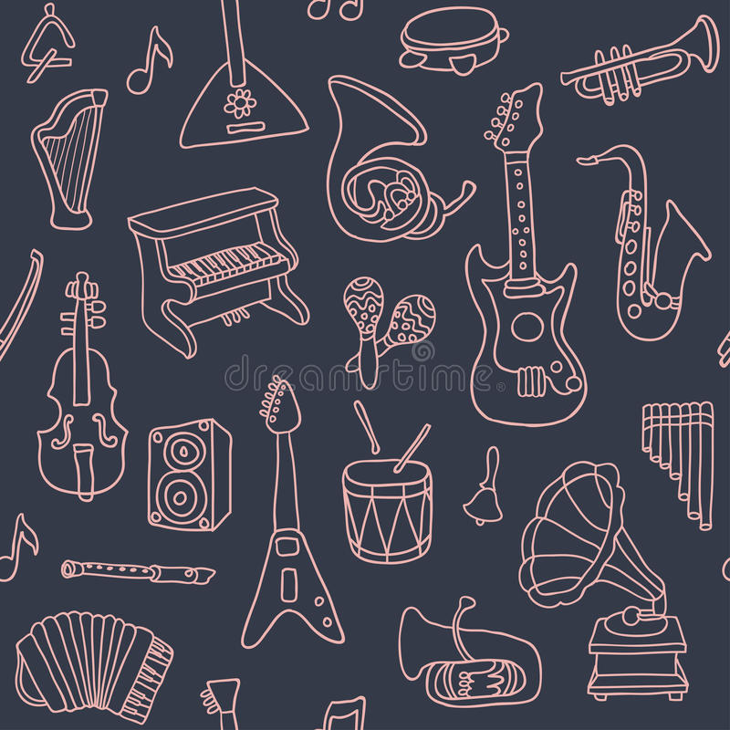 Music seamless pattern. Vector Illustration. Endless texture can be used for printing onto fabric, paper or scrap booking, wallpaper, pattern fills, web page vector illustration