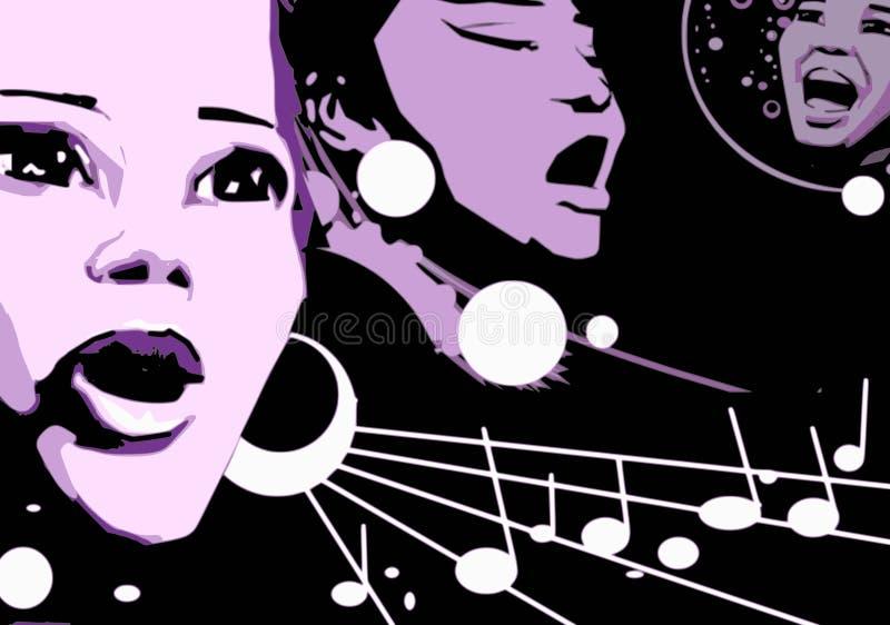 Singer Woman Music Jazz Blues Comics Cartoon vector illustration