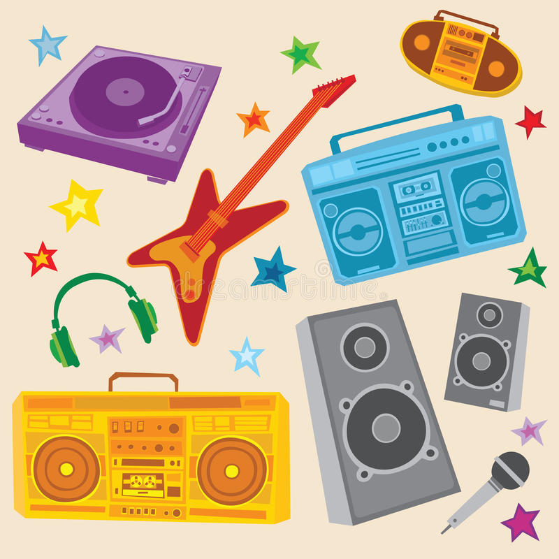 Download Music Set stock vector. Image of turntable, ghetto, headphones - 13630282