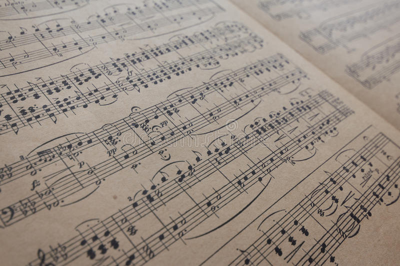 Music sheet vintage - old music notes stock images