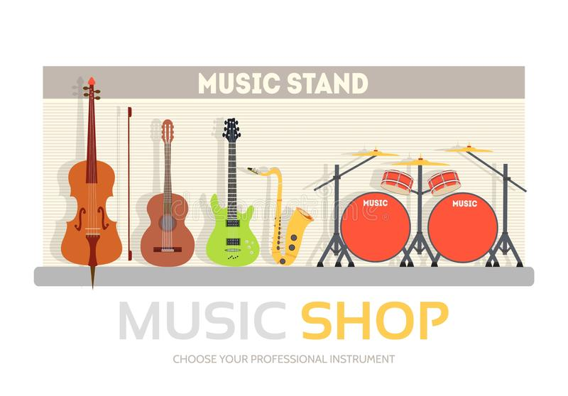 Music shop in flat design background concept. Stand with musical instruments collection set. Icons for your product or vector illustration
