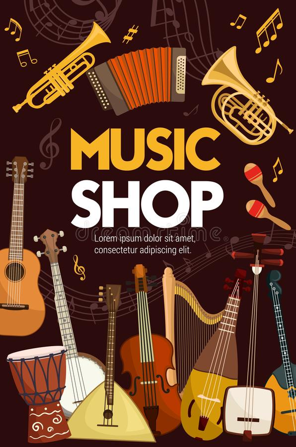 Music shop, folk sound band musical instruments. Music shop poster of folk, classic jazz and orchestra musical instruments. Vector music instruments, sound band royalty free illustration