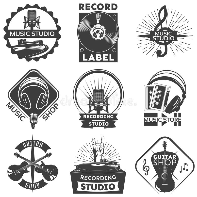 Music Shop Label Set royalty free illustration