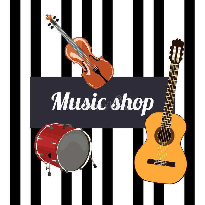Music shop Sign. Musical instruments and black keys on the background. Violin, guitar and drum royalty free illustration