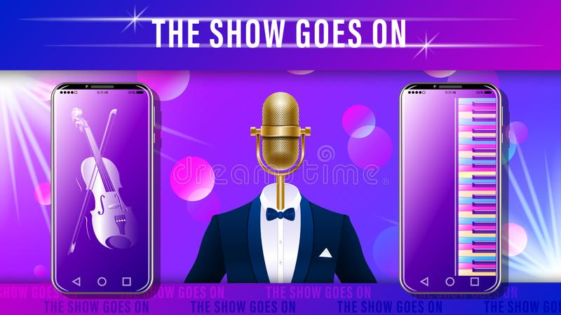Music show. gold mic in tuxedo and smartphone. Music show. Compere, master of ceremonies. Realistic gold metal microphone in tuxedo with bowtie, Smartphone with vector illustration