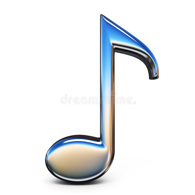 Music sign eighth note 3D. Rendering illustration isolated on white background vector illustration