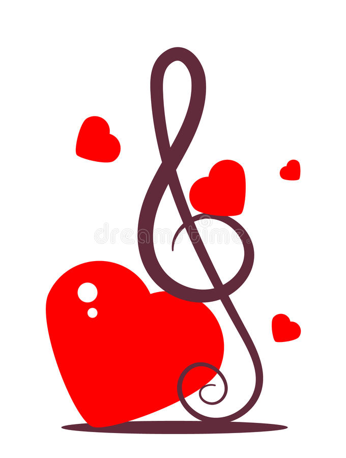 Music sign with hearts stock illustration